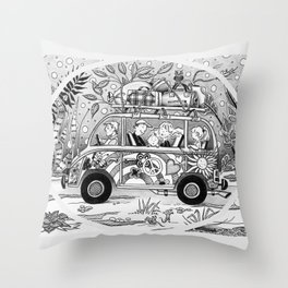 HOP ON THE BUS! Throw Pillow