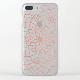 Mandala Floral Geometry Rose Gold on Cream Clear iPhone Case