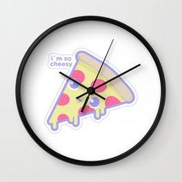 Cute cheesy pizza Wall Clock
