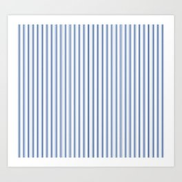 Mattress Ticking Narrow Striped Pattern in Dark Blue and White Art Print