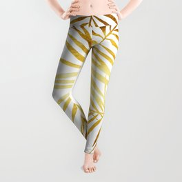 Tropical Palm Fronds in Gold Leggings