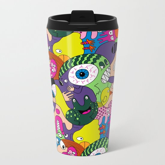 Alien Pattern Metal Travel Mug