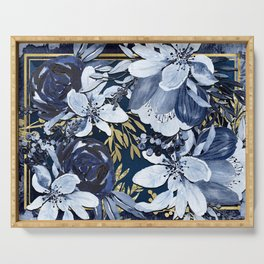 Navy Blue & Gold Watercolor Floral Serving Tray