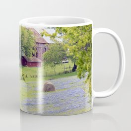 Old Red Barn and Rolling Bluebonnet Hills Coffee Mug