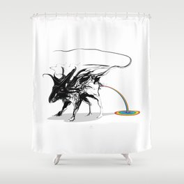 Rat and rainbow. Black on white background-(Red eyes series) Shower Curtain