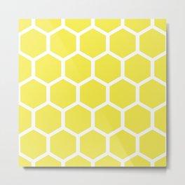 Honeycomb pattern - lemon yellow Metal Print