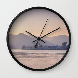 Panorama of small a Austrian town across the Danube Wall Clock