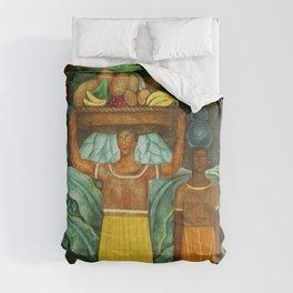 Tehuana Women Bringing Fruit to Market by Diego Rivera Comforters