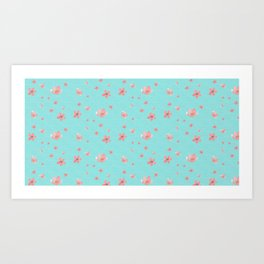 Scatter of Cherry blossoms - blue Art Print