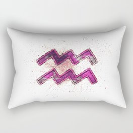 Aquarius zodiac sign, Horoscope Astrology background, Aquarius horoscope symbol, pink symbol on white background Rectangular Pillow