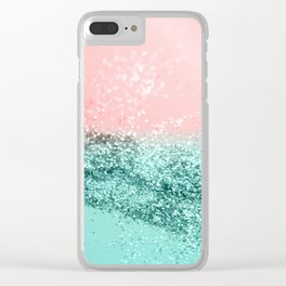Summer Vibes Glitter #4 #coral #mint #shiny #decor #art #society6 Clear iPhone Case
