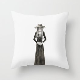 """Southern Gothic Witch Coven Watercolor; """"Hex"""" Throw Pillow"""