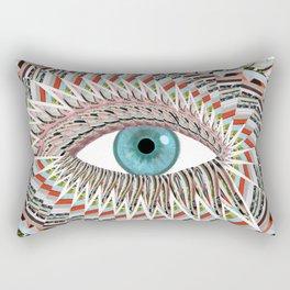 Origami Chakra Eye - Aqua Marine Blue Rectangular Pillow