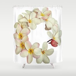 Plumeria Tropical Flower Garland Shower Curtain