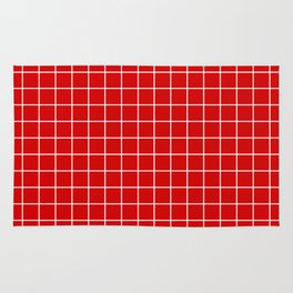 Rosso corsa - red color - White Lines Grid Pattern Rug