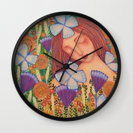 Woman with Butterflies Wall Clock
