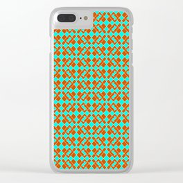 Turquoise Cool Mint Green and Red Clay Diamond Tags Flowing Flags Southwestern Design Pattern Clear iPhone Case