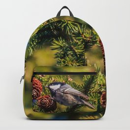 Bird on a spruce cone Backpack