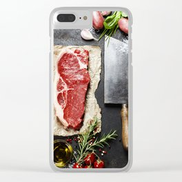 vintage cleaver and raw beef steak on dark background Clear iPhone Case