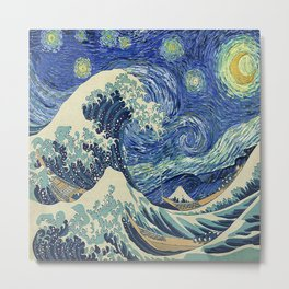 Starry Night Wave Metal Print