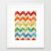 quilt Framed Art Prints featuring Chevron Rainbow Quilt by Rachel Caldwell