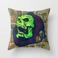 skeletor Throw Pillows featuring Skeletor by Beery Method