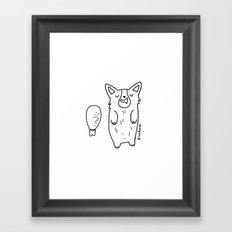 Corgi Sleeping with a turkey leg Framed Art Print
