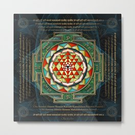 Maha Lakshmi (Laxmi) Mantra & Shri Yantra - Wealth Giving Metal Print