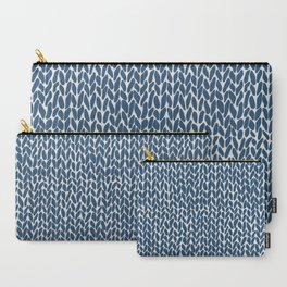 Hand Knit Navy Carry-All Pouch