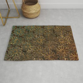 Blue Rosy Brown Arabesque Rug
