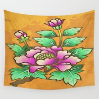 antique Wall Tapestries featuring Antique peony by Guido prussia