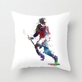 Lacrosse player art 3 Throw Pillow