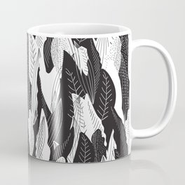 Floating Leaf in Black and White Coffee Mug