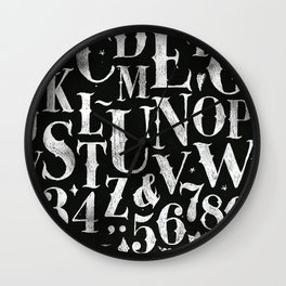 Vintage gothic alphabet chalk Wall Clock