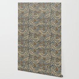 Blue Vintage Floral Pattern Wallpaper