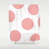 gold dots Shower Curtains featuring Coral & Gold Dots by Allyson Johnson