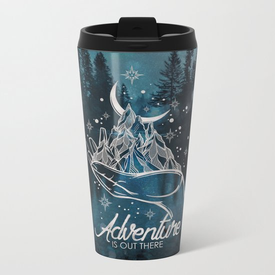 Adventure Is Out There Forest Lake Reflection Metal Travel Mug