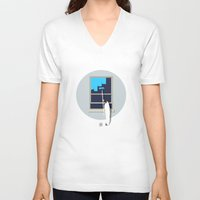 happiness V-neck T-shirts featuring Happiness by Inksider