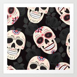 Day of the Dead Sugar Skulls halloween skull black roses black Art Print
