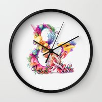 mushrooms Wall Clocks featuring Mushrooms & by Sasha Vinogradova