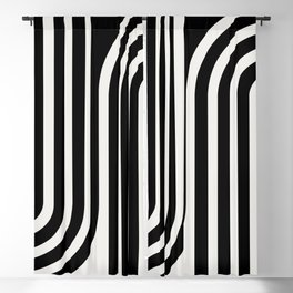 Minimal Line Curvature - Black and White III Blackout Curtain