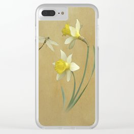 Daffodil and Dragonfly Clear iPhone Case
