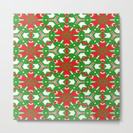 Red, Green and White Kaleidoscope 3373 Metal Print
