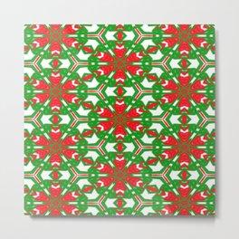 Red, Green and White Kaleidoscope 3373 Metal Print