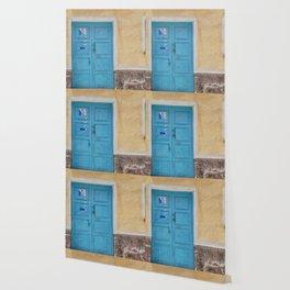 Bolivia door 7 blue on yellow Wallpaper