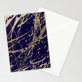 Elegant faux gold modern navy blue paint splatters Stationery Cards
