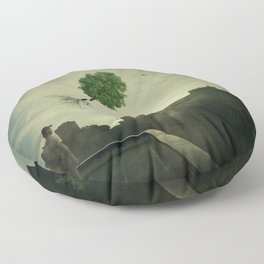 Greening of the foggy town Floor Pillow