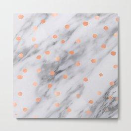Rose Gold Pink Dots Marble Pattern Metal Print