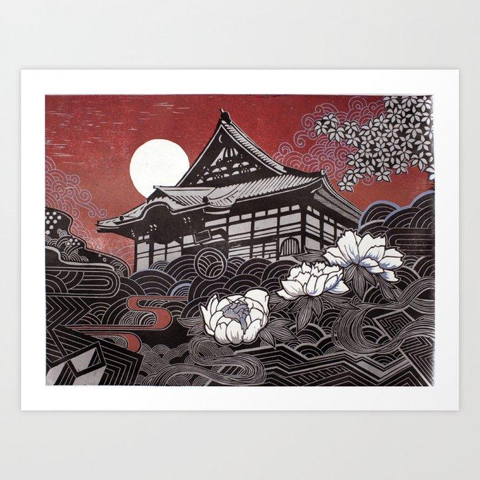 Genko-ji with Peony Art Print