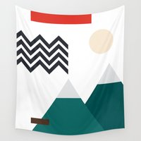 twin peaks Wall Tapestries featuring Twin Peaks by Art by FOUR.